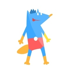 Blue fox animal dressed as superhero with a cape vector