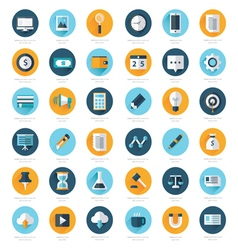 Business set of flat design icons 36 in 1 vector