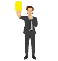 Businessman showing yellow card blowing whistle vector