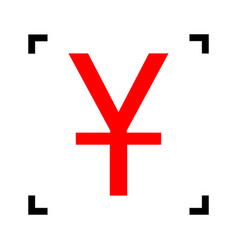 Chinese yuan sign red icon inside black vector