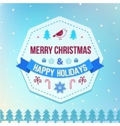 Christmas and winter holidays badge on vector image