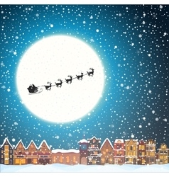 Christmas house in snowfall at the night happy vector