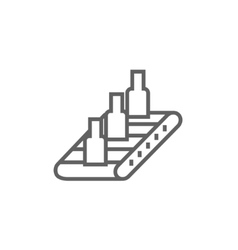 Conveyor belt system line icon vector