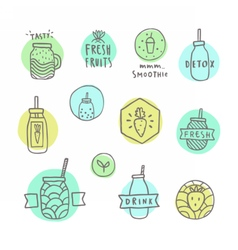 Doodle smoothie badges vector image vector image