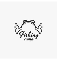Fishing camp badge vector