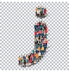 group people shape letter J Transparency vector image