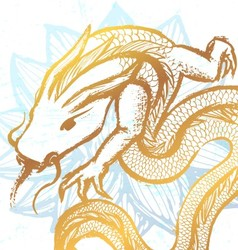 Ink hand drawn stylized chinese dragon on water vector