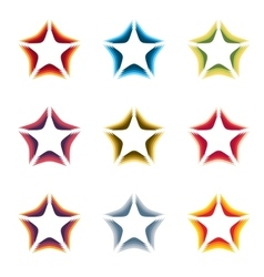 Isolated abstract colorful stars contour logo set vector image vector image