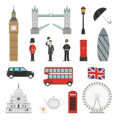 London Landmarks Flat Icons Set vector image vector image