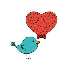 Love heart with cute bird vector