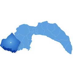 Map of antalya - kas is pulled out vector