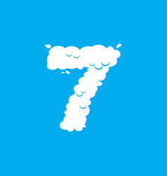 Number 7 cloud font symbol white alphabet sign vector