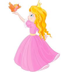 Princess and bird vector