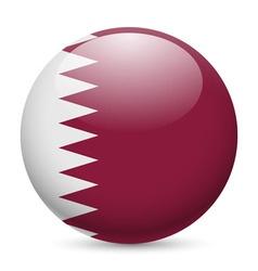 Round glossy icon of qatar vector image