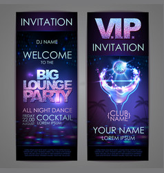 Set of disco background banners big lounge vector