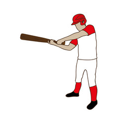 Silhouette color of baseball player with baseball vector