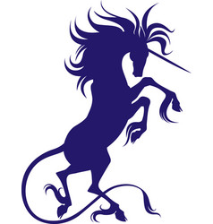 silhouette of unicorn with cloven hooves vector image