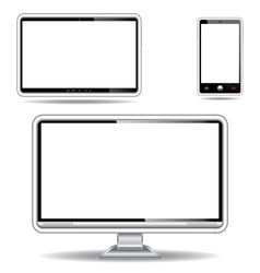 Silver monitor tablet and smart phone vector image