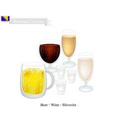Slivovitz wine and beer popular beverage in bosn vector
