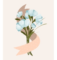 Spring Flowers Bouquet with Ribbon vector image vector image