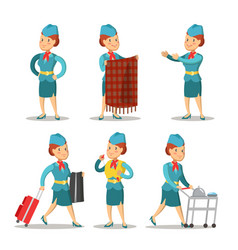 stewardess cartoon in uniform air hostess vector image