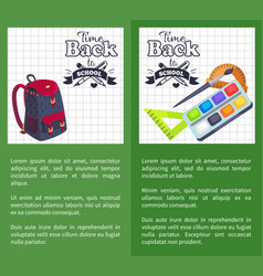 Time back to school posters rucksack on leaflet vector
