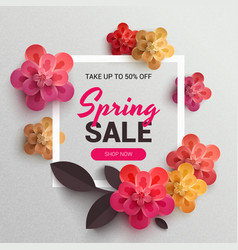 web wanner with red paper flowers for spring sales vector image vector image