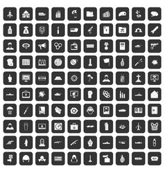 100 war icons set black vector