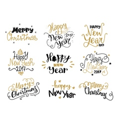 Happy new year and merry christmas hand drawn vector