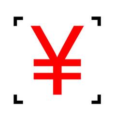 Yen sign red icon inside black focus vector