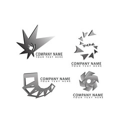 Abstract star square cube flower logo symbols vector