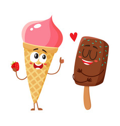 two funny ice cream characters - strawberry cone vector image