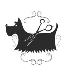 Dog grooming design vector