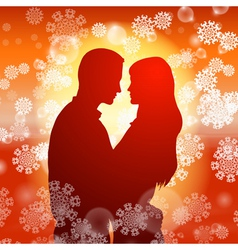 Couple over christmas background with snowflakes vector
