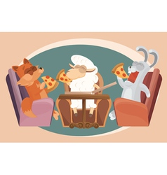 Card with lamb friends vector