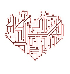 Printed electrical circuit board heart symbol vector