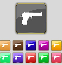 Gun icon sign set with eleven colored buttons for vector