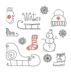 Hand drawing winter holiday set vector