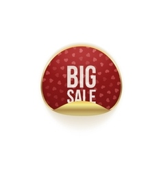 Valentines day round sticker with big sale text vector