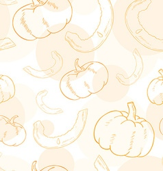 Seamless pattern with pumpkin and its slice vector