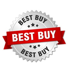 Best buy 3d silver badge with red ribbon vector