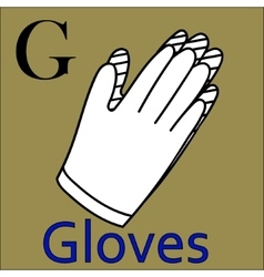 G letter alphabet coloring book gloves vector