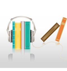 Headphones and books vector