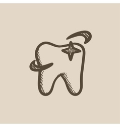 Shining tooth sketch icon vector