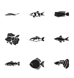 Aquarium fish set icons in black style Big vector image vector image