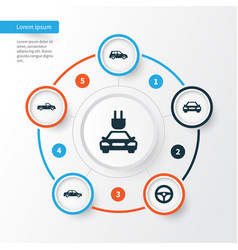 Automobile icons set collection of plug carriage vector