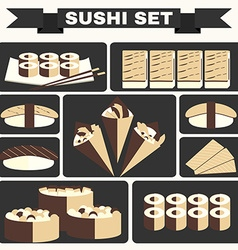 Big colorful icon set of sushi vector