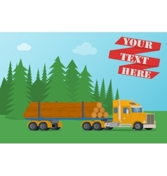 Big timber wood truck loaded with logs vector