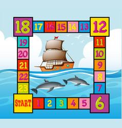 Boardgame template with ocean scene vector