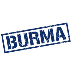 Burma blue square stamp vector